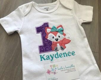 Fox birthday shirt personalized