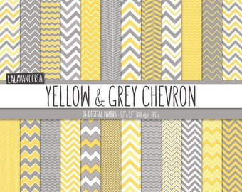 Chevron Digital Paper Package with Yellow and Grey Backgrounds. Printable Papers - Yellow and Gray Chevron Patterns. Digital Scrapbook
