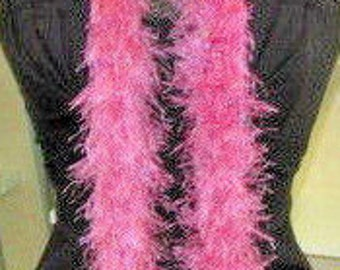 Pink Fluffy Boa Scarf Long 56 x 2 Eyelash Ribbon Combination Yarn Easter Womans BoHo Cottage Chic Fashion Stylish Crochet knit Handmade
