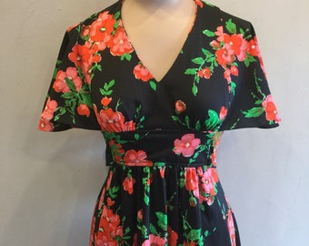 Floral 70s Maxi Dress Made in USA