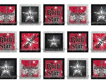 INSTANT DOWNLOAD....Rockstar ... 1 Inch Square Images Collage Sheet for Glass Pendants ...Buy 3 get 1