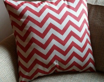 Natural & Red Chevron Print Cotton Pillow Cover - Various Sizes!