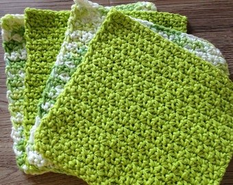 Cotton crochet dishcloth, cotton washcloth, cotton dishrag, set of 4, in lime green and shades of green