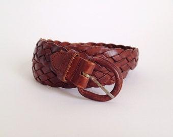 Vintage Brown Genuine Cowhide Leather Woven Belt