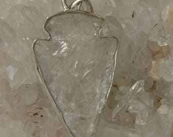 Quartz Crystal Arrowhead Pendant Necklace