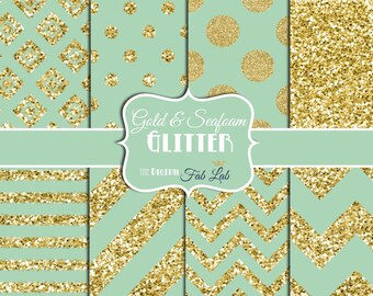 Sea Foam, Mint, Gold Glitter, Chevron, Polka Dots, 12x12, Scrapbook, Digital Paper