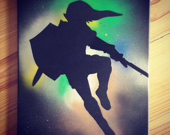 Painting of Link from Zelda / Spray Bomb / Paint explosion / painting on Canvas / Original home decoration / Gamer / geek home decor