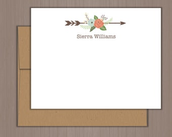 Personalized Note Card Set, Flat Note Cards, Floral Arrow Note Cards, Personalized Stationery, Personalized Stationary, Thank you Notes