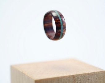 Cocobolo and turquoise wooden ring