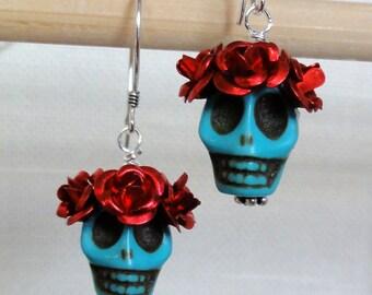 Dia de los Muertos Earrings - Turquoise Skull w/ Red Flowers