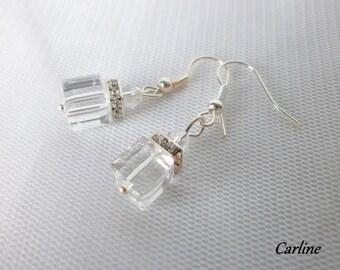 Earrings, dangle earrings Bridal, wedding pearls Crystal cube swarovski crystal rhinestones