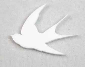Handmade Acylic Vintage Retro White Swallow Badge Brooch