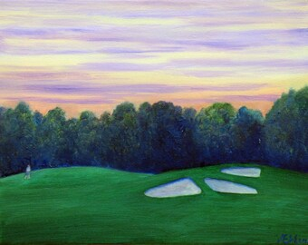 "11x14"" oil painting, ""Golfing sunset"""