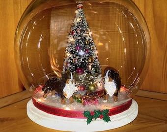 Bernese Mountain Dog Christmas Globe