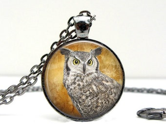 Proud Owl Necklace : Glass Dome Art Picture Pendant Photo Pendant Handcrafted Jewelry  (1653)