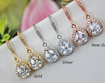 Cubic Zirconia Gold Crystal Drop Wedding Earrings, Gold Rhinestone Bridal Earrings, Bridesmaid Earrings, Bridal Accessories, Wedding Gift