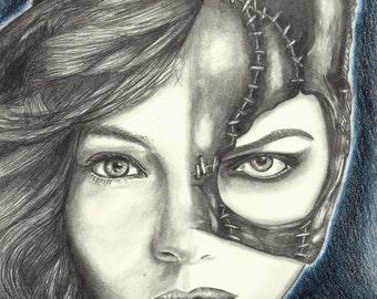 "Portrait Drawing Art Print: ""9 Lives"" - Camren Bicondova Michelle Pfeiffer Catwoman Selina Kyle Gotham City Batman Villain"