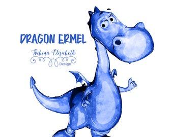 Dragon Ermel 1, blue, Watercolor Clipart, Baby, Child, Fun, Craft