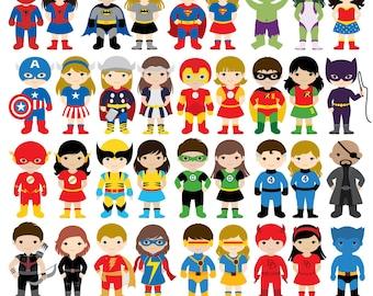 36 Kids Superhero Costumes Clipart, Superheroes Kids Clipart, Superheroes Clipart, Super Hero Clipart, Superhero Boys, Superhero Girls
