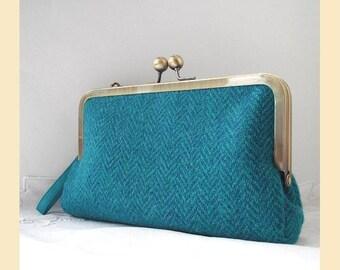 Harris Tweed clutch bag wristlet, handmade in teal and turquoise wool herringbone, Harris Tweed purse, optional personalisation
