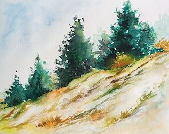 Pine Trees, Pine Trees painting, Original watercolor painting