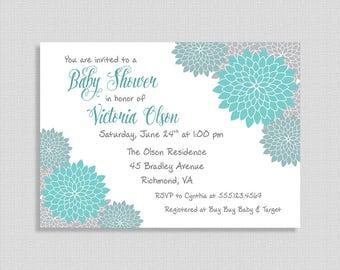 Teal & Grey Baby Shower Invitation, Baby Shower Invite, Mums, Floral, Gender Neutral, DIY PRINTABLE