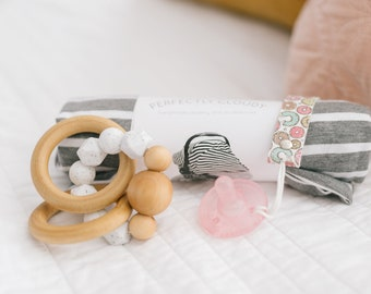New Momma Set || Car Seat Cover, teething ring and Pacifier Clip ||