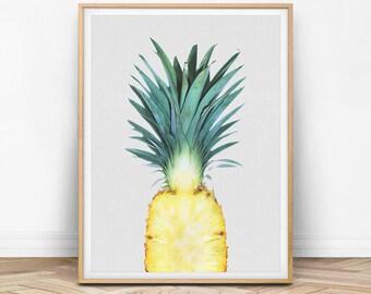 Pineapple Print, Pineapple Wall Art, Pineapple Decor, Pineapple Printable, Pineapple Photo, Summer Decor, Tropical Fruit, Kitchen Print, F01