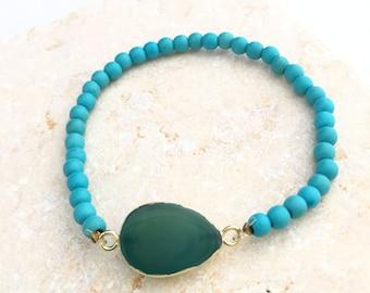 Turquoise Gemstone Bracelet, Turquoise Bead Bracelet, Bead Bracelet, Gemstone Bead Bracelet, Gemstone Bracelet, Oval Bracelet, Boho Bracelet