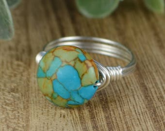 Sale! Turquoise Mosaic Magnesite Gemstone Wire Wrap Ring-Sterling Silver, Yellow, or Rose Gold Filled Wire- Any Size 4 5 6 7 8 9 10 11 12 13