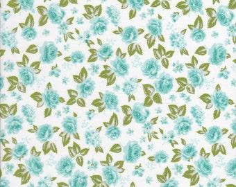 Aqua Fabric - Aqua Rose Fabric - Chloe's Closet Fabric - Sew & Sew Fabric - Moda Fabric