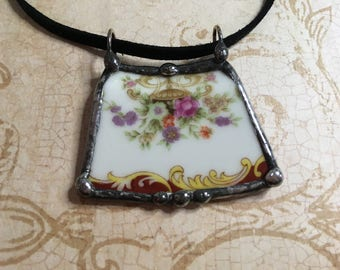 Broken China Jewelry, Red Dish Pendant, Floral Pattern, Plate Necklace, Recycled Vintage Dish, Soldered Charm, Grandmas Wedding Heirloom