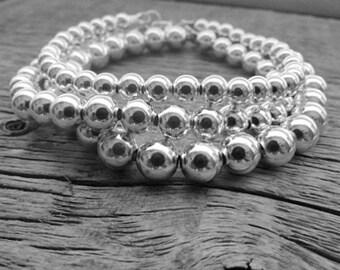 Sterling Silver Bead Bracelet, 6mm Bracelet, Bride Bracelet, 925 Silver Bracelet, Sterling Bracelet, Stack Bracelet, Ball Bead Bracelet