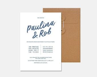 Wedding, invitation, minimalist, blue, modern, noble, graphic design, typography, calligraphy