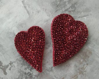 Red Heart Brooch, valentines brooch, Pin Love Brooch, Bead embroidered accessories, Handmade brooch, handmade beadwork, red heart