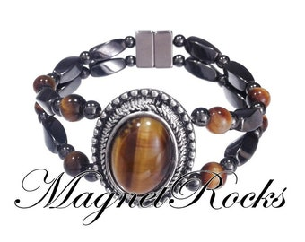 Victorian Collection Magnetic Hematite and Golden Tiger Eye Bracelet