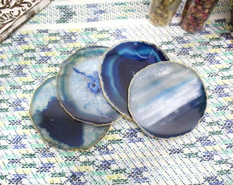 4 pcs Blue Gold Plated Agate Coaster - Set of 4 - Agate Slice with 24k Gold Electroplated Edges - Home Decor (RK81B6)