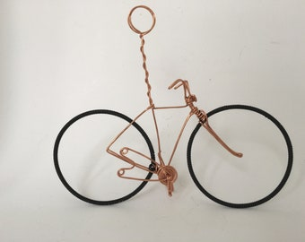 Copper Wire Bicycle Table Number Holder. Wedding Center Piece.