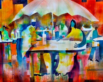 Summer Bistro Watercolor Painting, African American Art, Cafe Art, Dining Room Art, Home Decor Art, Wall Art, Large Wall Art, Abstract Art