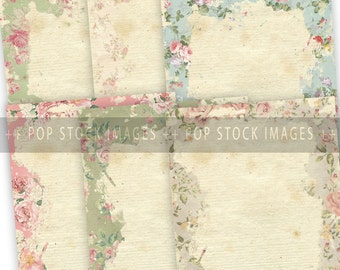 Shabby Chic Distressed Floral Bordered Papers - Journal Papers or Scrapbook Papers - LTR SIZE - Vintage Floral Shabby Papers - Set of 6