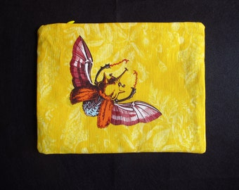 Big pouch for make up, pens.. with my original drawing, yellow flying beetle