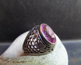 amethyst silver solitaire ring,amethyst filigree ring,february birthstone ring,amethyst silver filigree ring,amethyst victorian ring