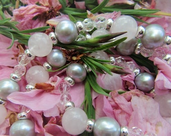 925 Silver necklace, rose quartz, rock crystal and freshwater pearls