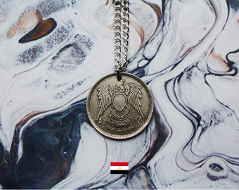 Egyptian 20 Piastres Handmade Silver Coin Necklace - Silver Plated Chain.