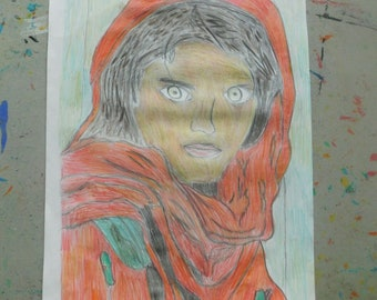 art and drawing, original pencil colour drawing, Refugee girl