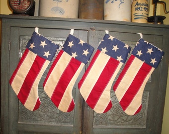 Americana Stocking | Old Glory Stocking | Christmas Stocking | Red White And Blue Stocking | 1 Stocking