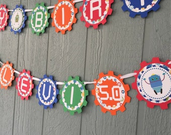 Robot BIRTHDAY Banner - Personalized with Name & Age - Multi-color - Robot theme, Cogs, Gears, Robots - Baby Showers, Birthdays