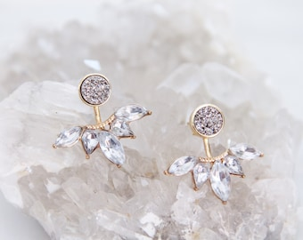Bridesmaid, Druzy Earrings, Silver Druzy Studs, Rhinestone Ear Jacket