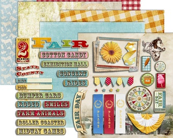 Fair Digital Scrapbook - County Fair Clipart - State Fair - Country Carnival Printable Papers - Fair Day Kit - Instant Download