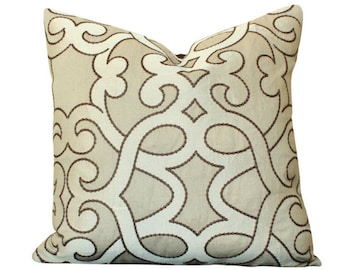 Schumacher Amboise Linen Embroidery Pillow Cover in Greige